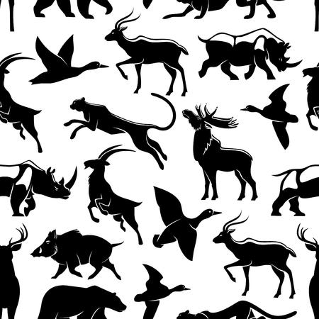 Vector seamless Pattern of wild animals and birds Ilustrace