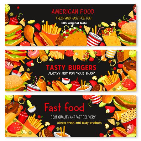 Vector Banners voor fastfood restaurant Stock Illustratie