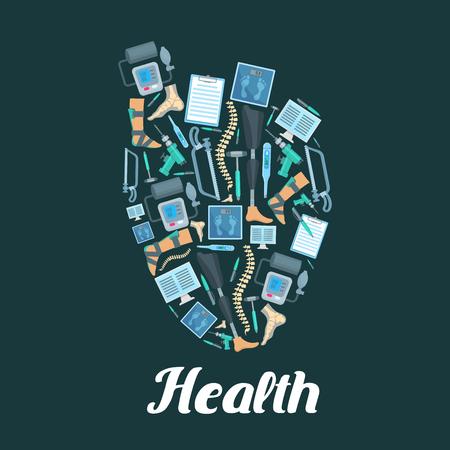 Heart vector medical poster of medicine items Stock Vector - 76709509