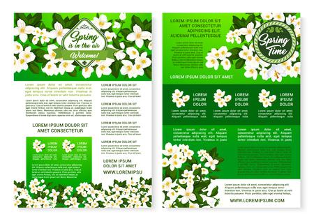 Spring garden flowers poster template design Vektorové ilustrace
