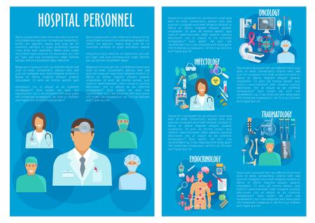 Vector medical brochure hospital personnel doctors