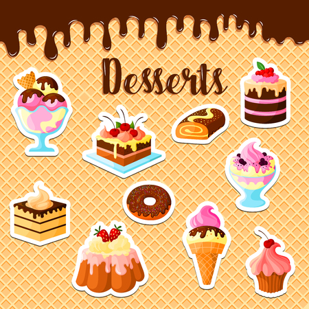 Pastry cakes and desserts on vector waffle poster. Cupcakes and tortes of tiramisu, brownie and charlotte pudding, chocolate brownie muffins and ice cream with fruit and berry for patisserie or bakery design Illustration