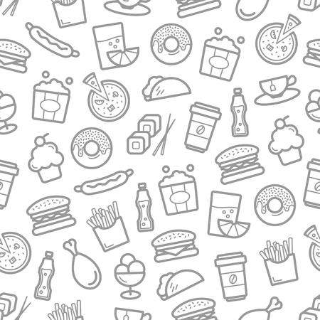 Fast food and seafood vector seamless pattern Imagens - 76709521