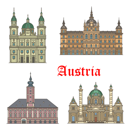 Austrian travel landmarks of architecture icon set Ilustrace