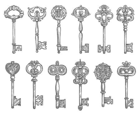 Viejo, vendimia, llave, antigüedad, esqueleto, bosquejo Foto de archivo - 77243536