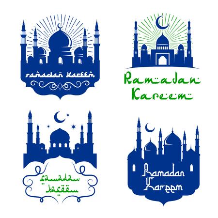Vector moskeepictogrammen voor Ramadan Kareem-groeten