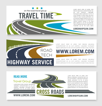 Road travel and highway service banner template Illusztráció