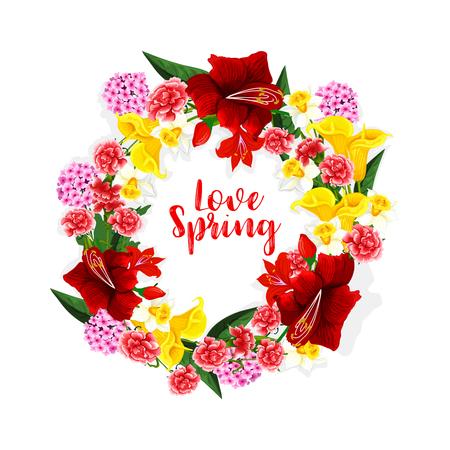 Frühlingsblumen Blumenstrauß oder Vektor Blumen Kranz Standard-Bild - 77243548