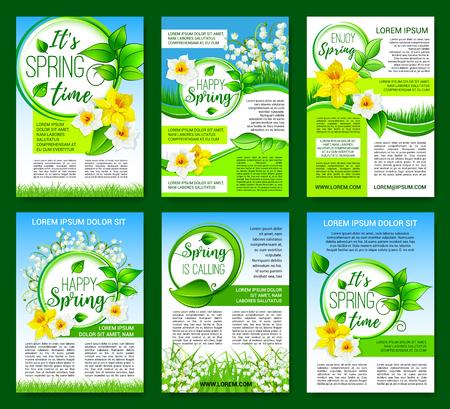 Spring flower, green leaf poster template design