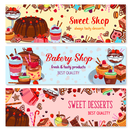 cafe shop: Bakery and sweet shop, ice cream cafe banner set