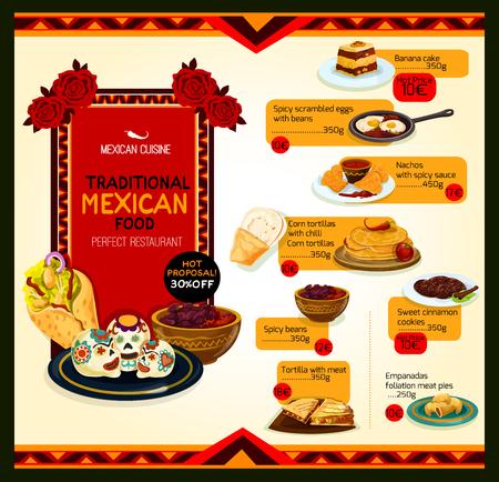 Mexicaanse keuken menu speciale aanbieding poster sjabloon Stock Illustratie