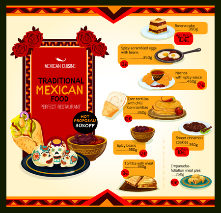 Mexican cuisine menu special offer poster template Çizim