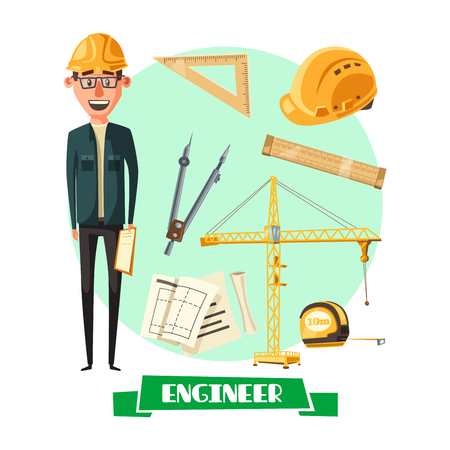 Engineer with tool icon for profession design