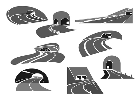 Road tunnel icon set with highway and freeway