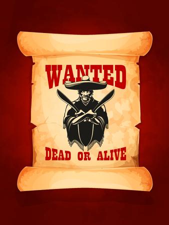 Gesuchtes oder lebendiges Poster des mexikanischen Banditen Standard-Bild - 77243563