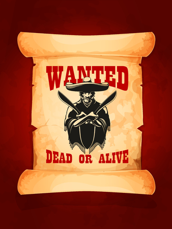 Wanted dead or alive poster of mexican bandit Иллюстрация
