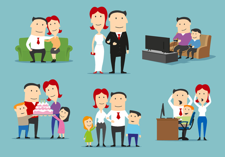 Family in different life stages cartoon set Illustration