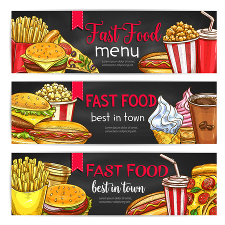 lunch meal: Fast food lunch meal with drinks chalkboard banner