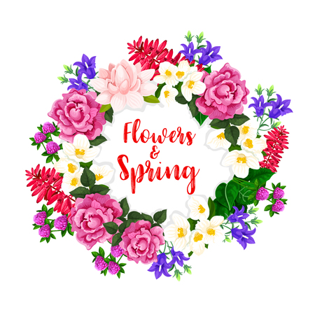 Spring flowers wreath of vector blooming bouquets