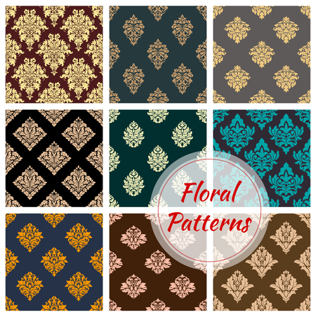Damask floral seamless pattern background