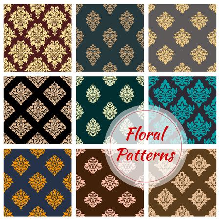 Damask floral seamless pattern background