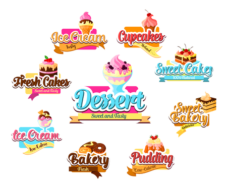 Bakery dessert, pastry and ice cream symbol set Illustration