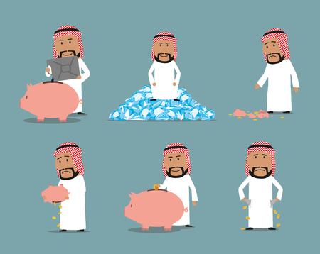Rijk en failliet Arabisch zakenman karakter set Stock Illustratie