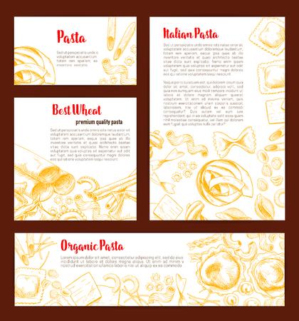 Italian pasta banner template set for food design