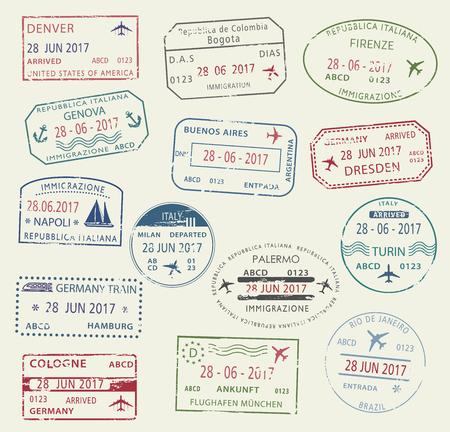 Visa passport stamp symbol set for travel design