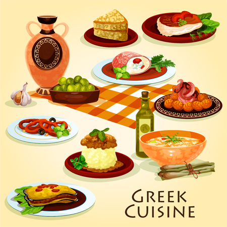 Greek cuisine traditional dinner cartoon icon