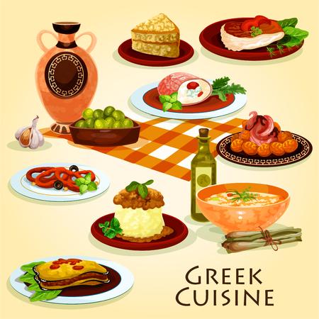 Greek cuisine traditional dinner cartoon icon