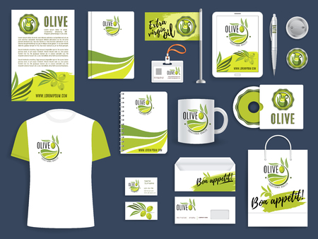 Corporate identity template met groene olijf takje