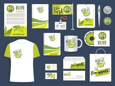 Plantilla de identidad corporativa con ramita de aceituna verde