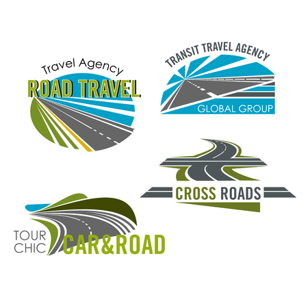 Road trip and car tour icon set for travel design