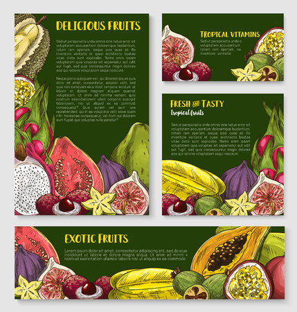 Exotic tropical fruit banner, poster template set Illustration