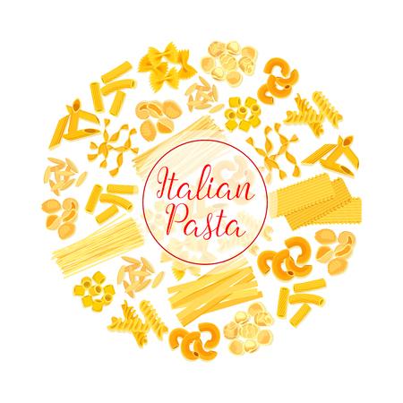 イタリアのパスタ、スパゲッティ、マカロニ ラウンド ポスター