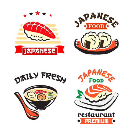 Japanese food symbol set for sushi bar design Illustration