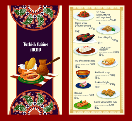 Turkish cuisine menu with delights and meat dishes Illustration