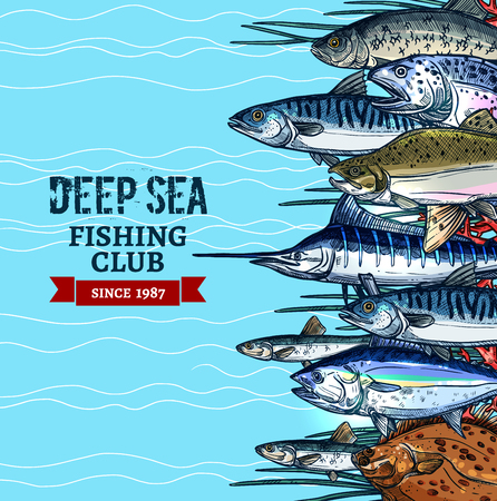 Sea fishing club poster design with fish sketches Reklamní fotografie - 77243617