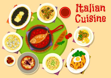 Italian cuisine lunch menu icon for food design 向量圖像