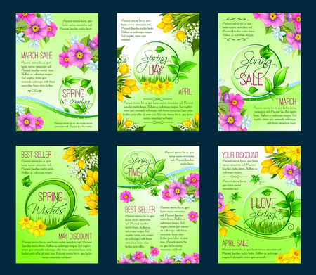 Spring season sale poster, discount flyer template Illustration