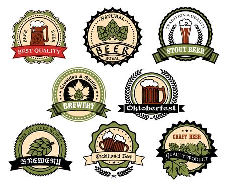 lager beer: Craft beer, ale, lager alcohol drinks label set