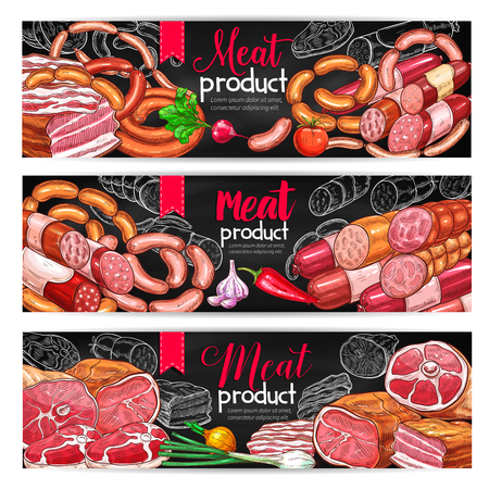 Meat and sausage menu blackboard banner set
