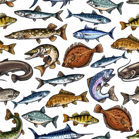 魚魚介類設計のシームレス パターン  イラスト・ベクター素材