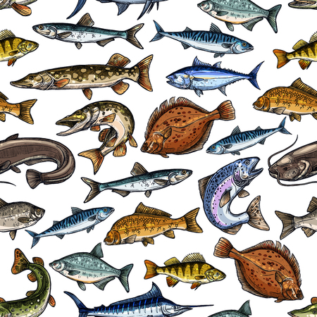 Fish seamless pattern for seafood design Vettoriali