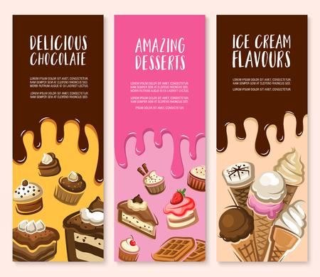 Dessert, ijs en chocolade gebak banner set Stock Illustratie