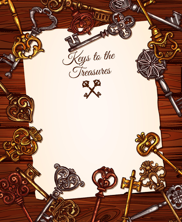 Vintage key with old paper on wooden background