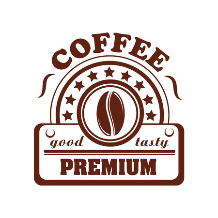 Vector icon of coffee bean for cafeteria or cafe
