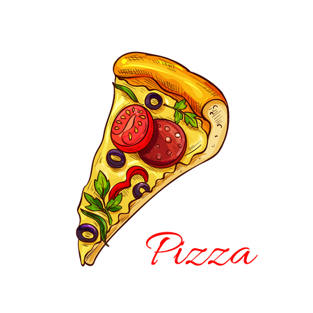 Vector icon pizza for Italian pizzeria fast food