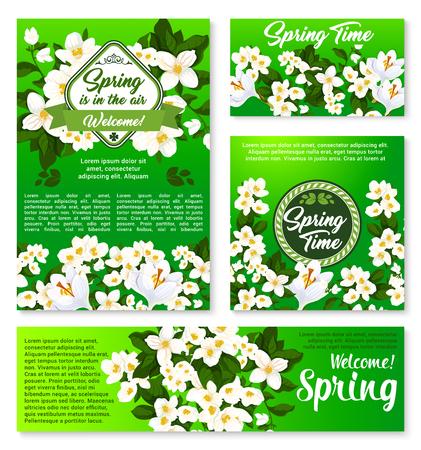 카드 및 배너 디자인을위한 봄 꽃 템플릿